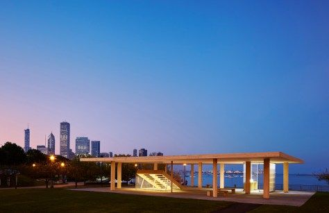 Chicago Horizon Pavillon by Ultramoderne. Instead of providing a luxury for the few, the Chicago Horizon maximizes its reach. It emphasizes a proliferation of space over form or detail. In lieu of flash, it provides relief for the city. The design for the kiosk became a quest to create the largest wood roof possible—to demarcate a zone of the city for all to enjoy.