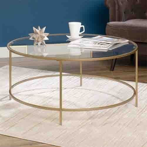 Round Glass Top Coffee Table Tempered Gold Finish Metal Frame Living Room Decor