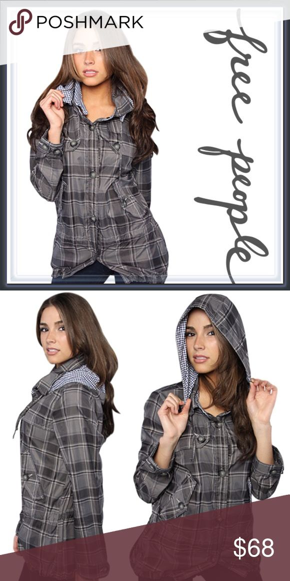 Free People Windy Weather Coat Jacket ➖BRAND: Free People ➖SIZE: XS ➖STYLE : Plaid button down windbreaker jacket with a detachable drawstring hood. It has two pockets on the sides and as well as a drawstring at the waist and bottom hem. Free People Jackets & Coats Trench Coats