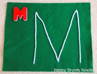 great idea- use yarn and a felt board o help your child 'write' the letter