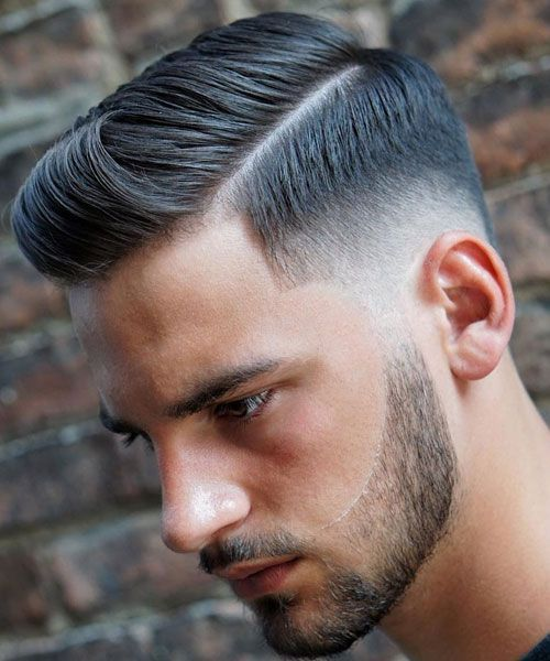 Hard Side Part + Low Taper Fade + Beard #menshairstylessidepart