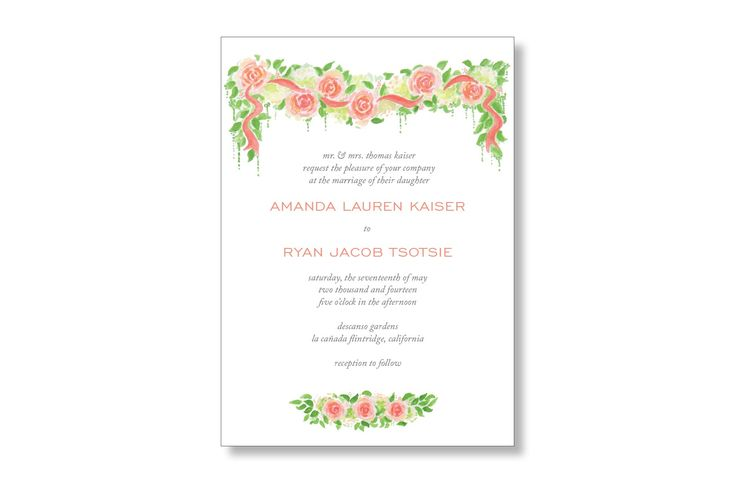 Garden Roses Watercolor wedding invitations from MarryMoment