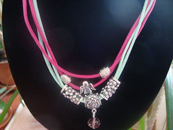 Jewelry turquoise and pink suede necklace charms and by BiancasArt