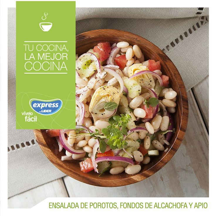 Ensalada de porotos, fondos de alcachofa y apio #Recetario #Receta #RecetarioExpress #Lider #Food #Foodporn #Ensalada