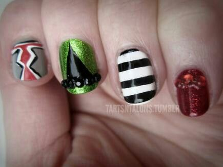 Nail Challenge Witches Inspired By The Wicked Of Oz And A Flying Monkey China Glaze Ruby Pumps Wet N Wild French White Creme