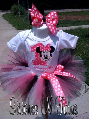 Custom 1st Birthday Minnie Mouse ONESIE ONLY by embroideryandmore    I may need to get this onesie for Emma's 1st birthday