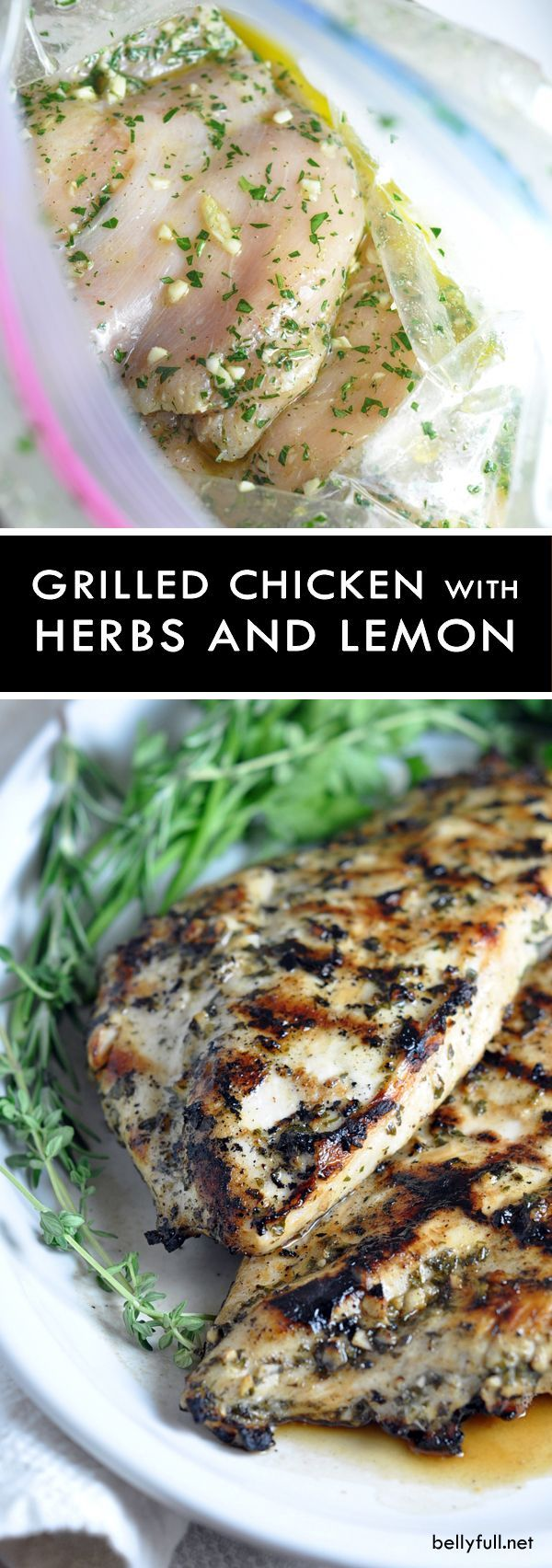 Grilled Chicken Breasts with Herbs and Lemon - this simple no-fail grilled chicken recipe can be enjoyed with any vegetable for an easy weeknight meal. Use up any left overs in a sandwich the next day!: