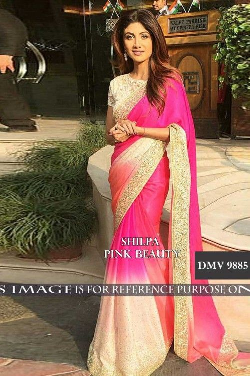 Utsav saree, Shilpa Shetty Pink faux georgette embroidered sarees,  round neck blouse now in shop. Andaaz Fashion brings latest designer ethnic wear collection in UK   http://www.andaazfashion.co.uk/bollywood-sarees-online/shilpa-shetty-pink-faux-georgette-saree-with-raw-silk-blouse-dmv9885.html