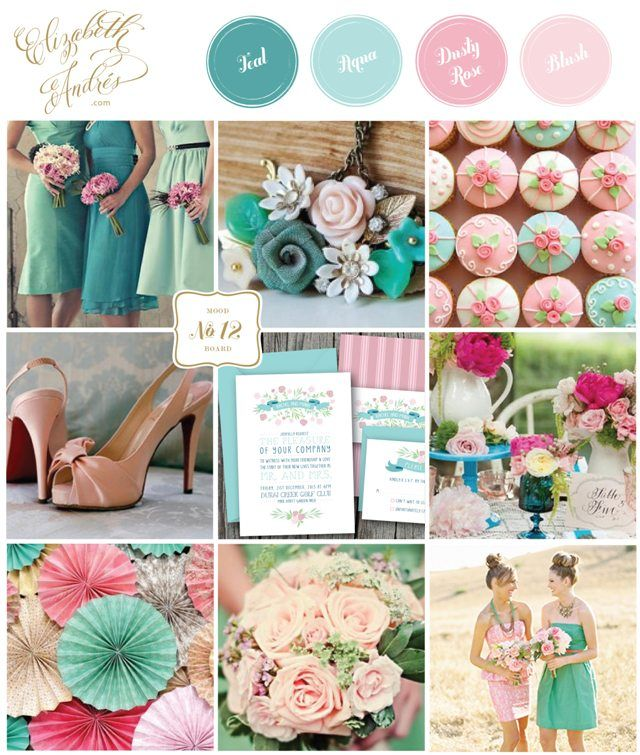 Elizabeth Andrés Designs: Inspiration Board   Teal, Aqua, Rose, + Blush Wedding