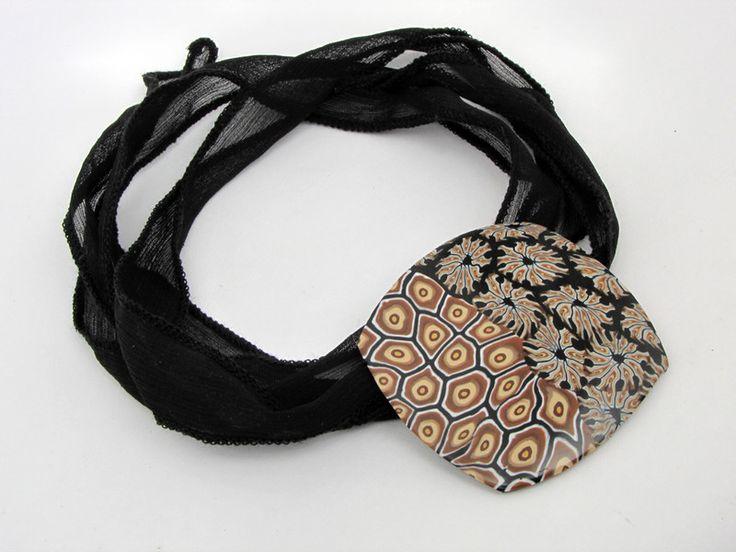 Ketten lang - Kette aus Polymer clay am Seidendenband - ein Designerstück von filigran-Design bei DaWanda