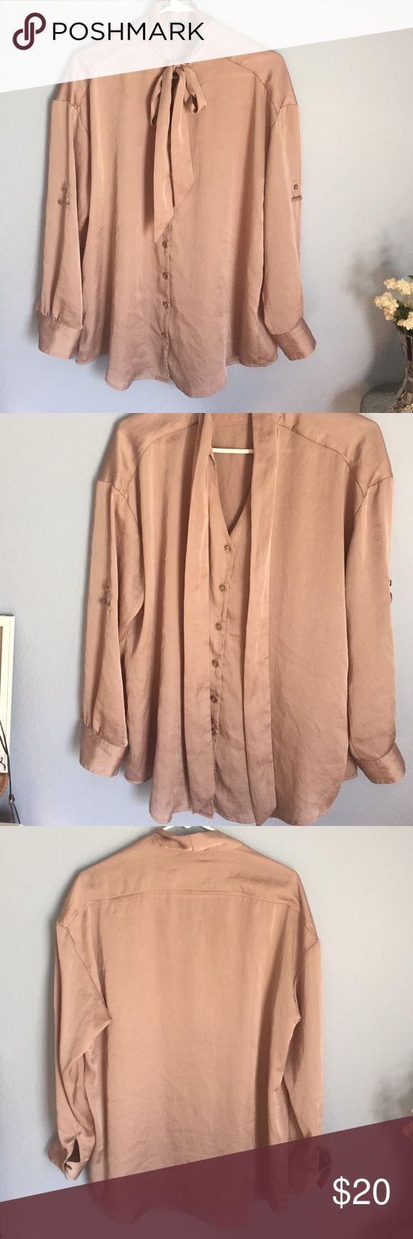 Gold Rose Express Long Sleeve Blouse Worn once small size runs big will fit a medium and a large size Express Tops Blouses