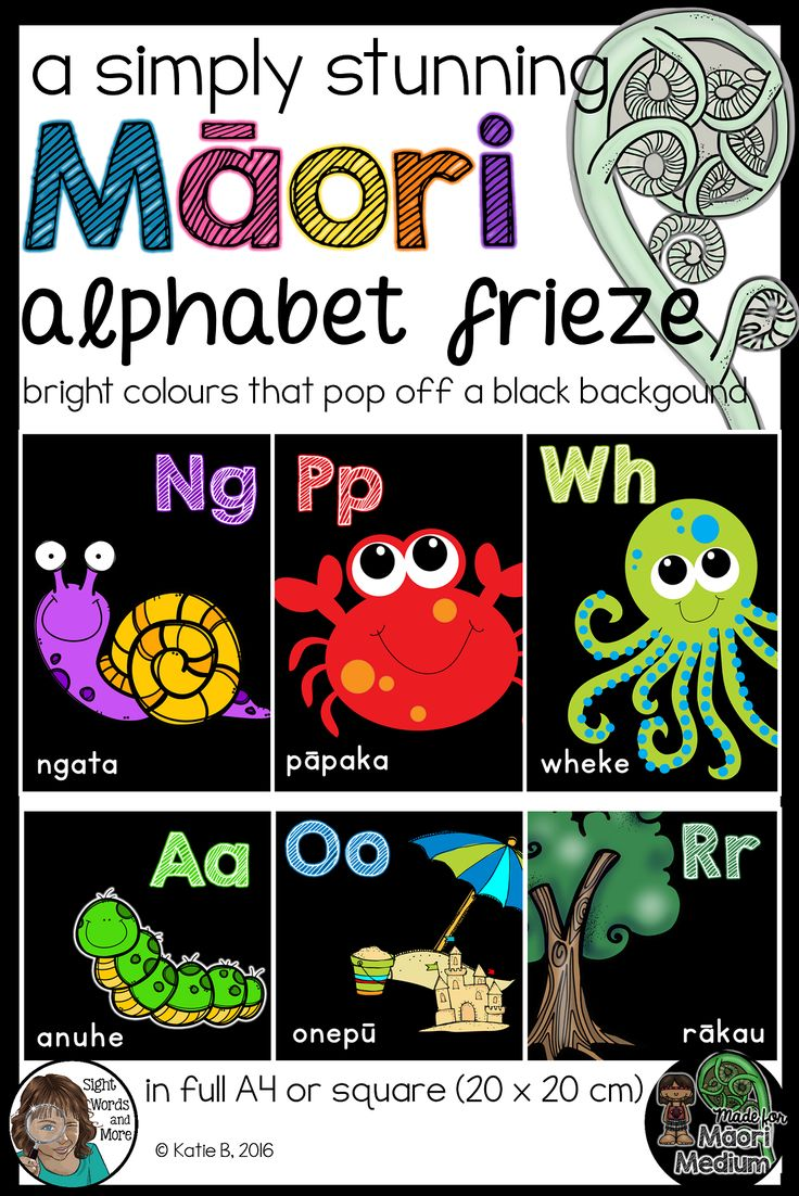 A beautiful collection of Maori language alphabet posters perfect for kiwi classrooms (Maori and English medium classrooms alike). This resource has bright pictures and text that pop off the black backgrounds. Heavy on the ink, but beautiful on the eyes. Both A4 posters and 20 X 20 cm posters for the square alphabet frieze look are included.