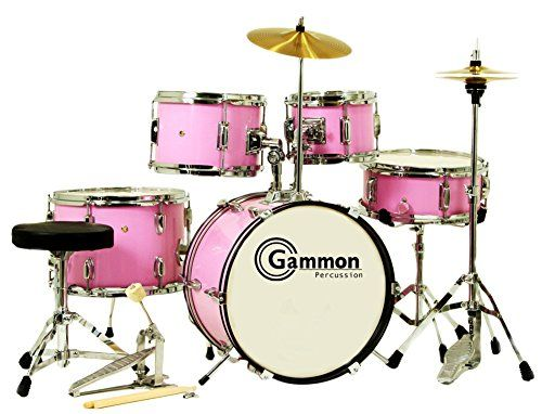 Brand New Pink 5-Piece Junior Drum Set - Absolutely everything you need to start playing! # Look at these AMAZING features: 16'x10' 12 Lug Bass Drum # 5 1/2' x 12 Wood Snare drum # 10'x7 and 8'x6 Hang...