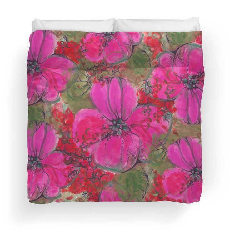 CreateArtHistory Blumen pink #flowers #aquarell\u0027 Bettbezug by - rattan schlafzimmer komplett