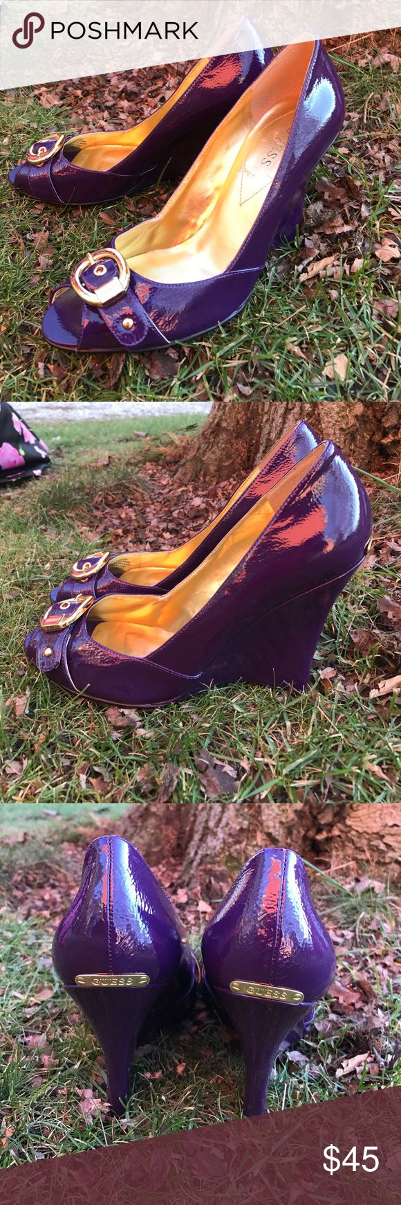 Like new Guess wedge heels! These fabulous shoes are classy and unique! They are a deep purple patent leather with a 4 inch wedge heel! Guess Shoes