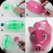 DIY Crafts Plastikflaschen Schwein   – dad