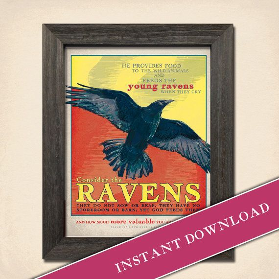 Raven's Cry —  8x10 Instant Printable Download  Scripture Poster of Psalm 147:9 and Luke 12.24 by Inklings of an Artist