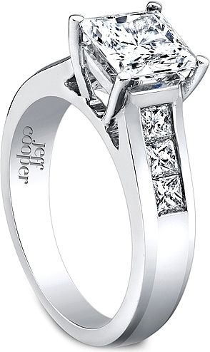 Jeff Cooper Wide Channel-Set Princess Cut Engagement Ring  : This modern and stylish engagement ring setting by Jeff Cooper features six princess cut channel-set side diamonds which will perfectly enhance your choice of a center diamond.