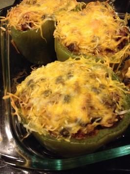 No Carb - Chicken Stuffed Green Peppers