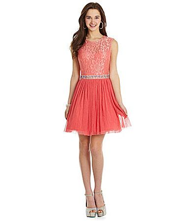 As U Wish Sleeveless Lace Mesh Party Dress Dillards 8th