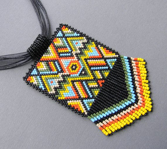 Multicolor Ethnic Style Beaded Pendant   peyote by Anabel27shop,