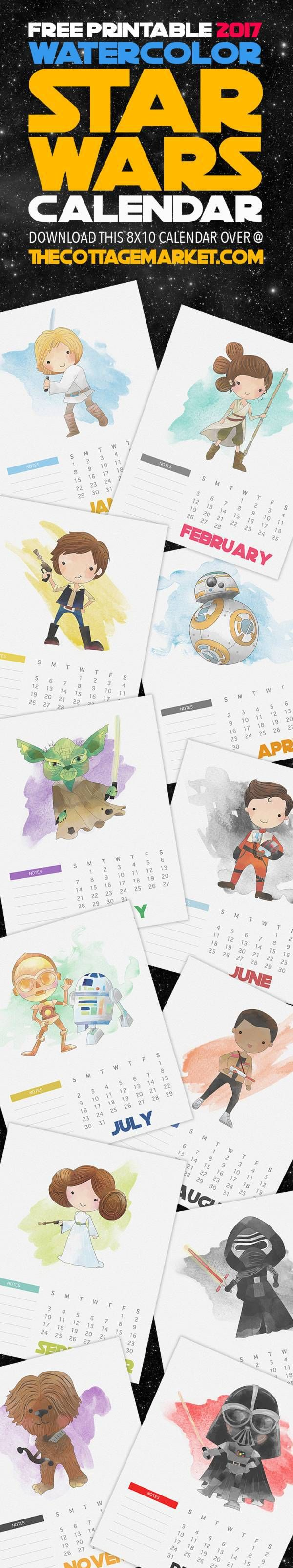 The perfect 2017 printable calendar for Star Wars fans of all ages, and it's free! Each month has a watercolor illustration on a 8×10 sheet with space for monthly notes. Display your fav…