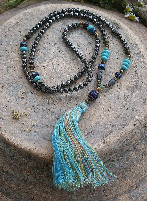 Beautiful hematite gemstone mala necklace
