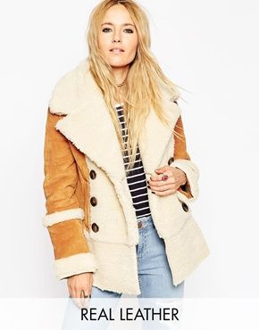 wholesale fashion jewelry manufacturer ASOS Suede Shearling Coat in 70  39 s Styling