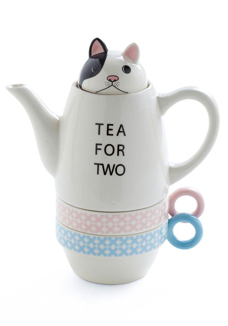 tea set catTeas For Two, Cups Teas, Tea Sets, Teas Time, Teas Pots, Kitty Teapots, Teas Sets, Modcloth Com, Vintage Kitchen
