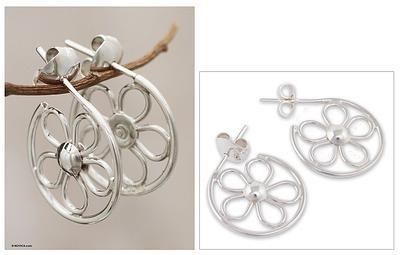 Sterling silver half hoop earrings - Gift from God - NOVICA