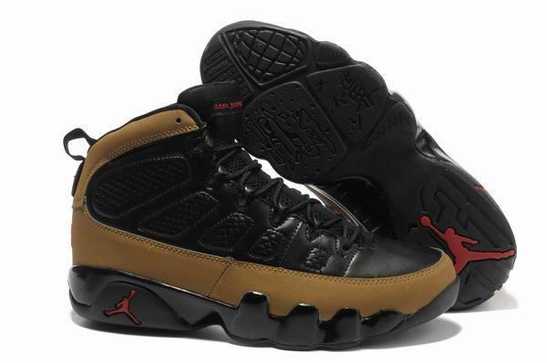 Nike Air Jordan 9 Retro Black Light Olive Varsity Red Shoes