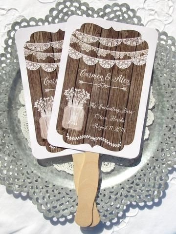 Rustic Wedding Fans, personalized fans for your special day.  by abbeyandizziedesigns.com