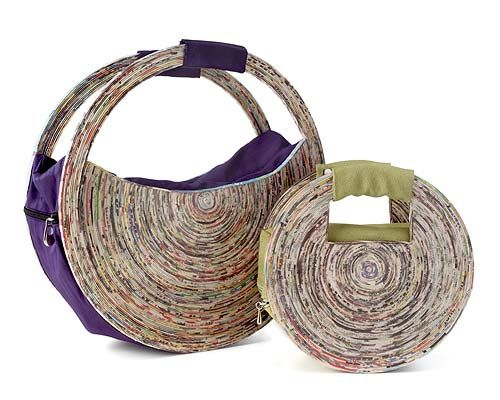 Recycled newspaper and plastic bottle handbags, out of a female artist co-op in Brazil.