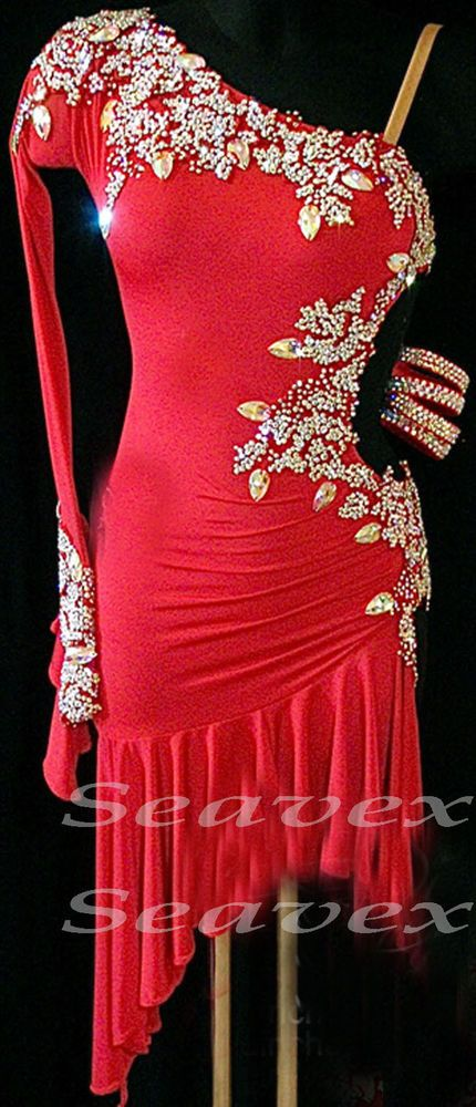 Competition Ballroom Latin Cha Cha Ramba Dance Dress US 8 UK 10 Red Sliver Color