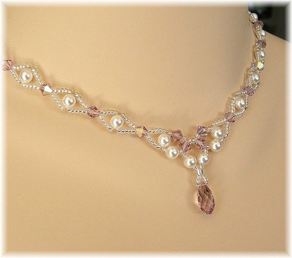 Light Amethyst Wedding Necklace Light Purple Necklace by Handwired, $78.00