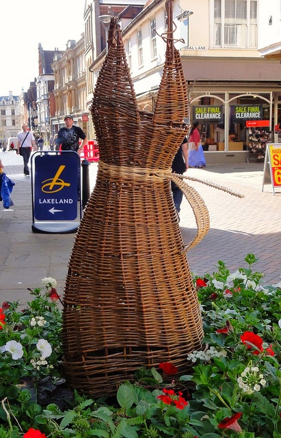 Flowers with basketry dress in Buttermarket, Ipswich, Suffolk.