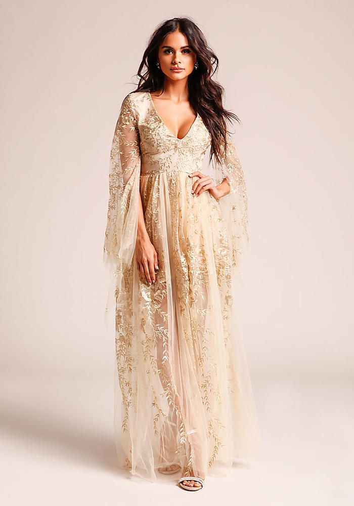 8d87406becb2b Gold Embroidered Tulle Bell Sleeve Maxi Gown - Midi and Maxi - Dresses