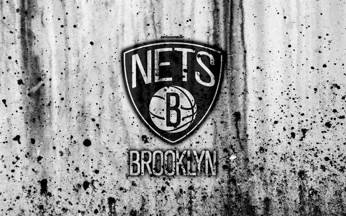 Download wallpapers Brooklyn Nets, 4k, grunge, NBA, basketball club, Eastern Conference, USA, emblem, stone texture, basketball, Atlantic Division