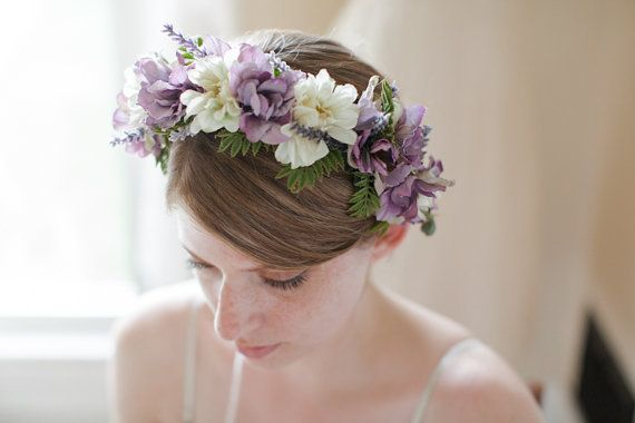White zinnia and lavender flower crown, $55 from Betrothed on Etsy. Made weddings in mind, but could also be a beautiful Renaissance or faerie costume accent.