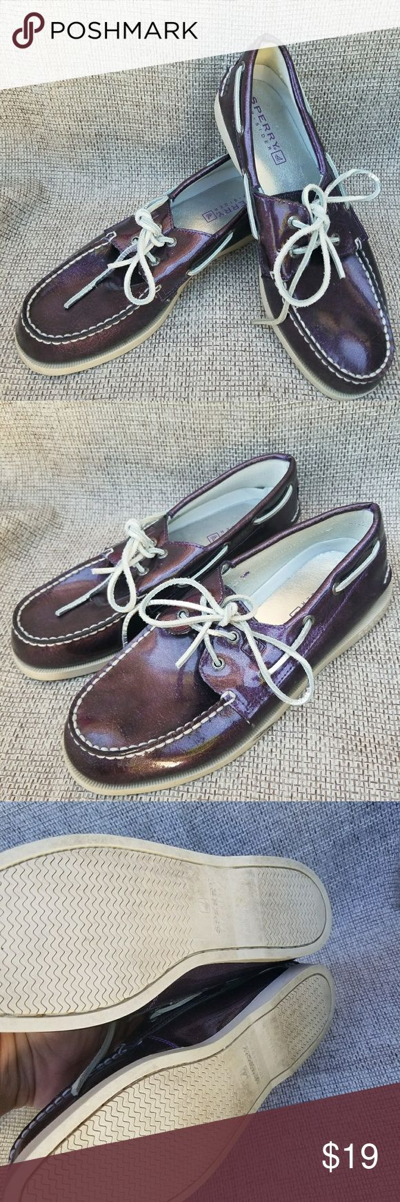 Ladies size 5.5M purple Sperry tip sider boat shoe Gently pre owned. Size 5.5 men's. #2 Sperry Top-Sider Shoes Flats & Loafers