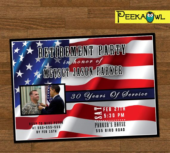 Printable Military Retirement Party Invitation card - Military Retirement Party Invites - Military Retirement for U.S. Army, Navy, Air Force