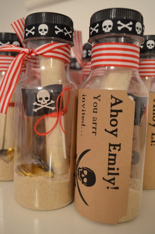 Invitation to a Pirate Party - love this idea of message in a bottle