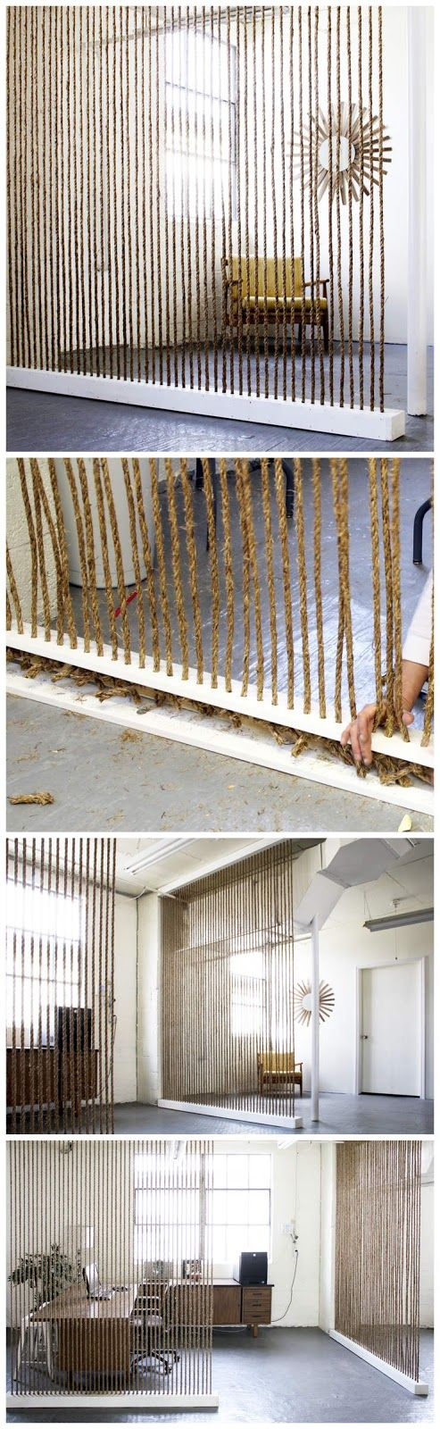 DIY Rope Wall. Awesome idea for an office!