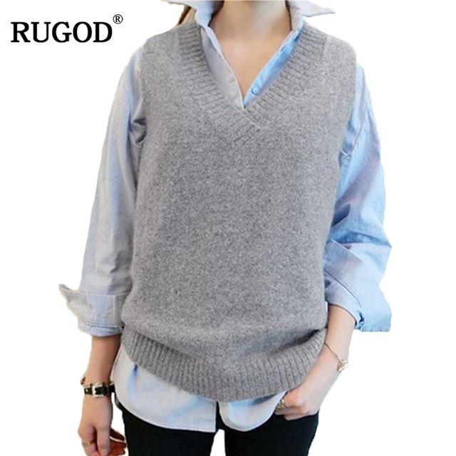 Flash Sale $10.14, Buy RUGOD Vest 2017 New Autumn Women Vest Pretty Sleeveless O-Neck Rabbit Hair Knitted Vest Women Plus Size 2XL 3XL 4XL Veste Femme