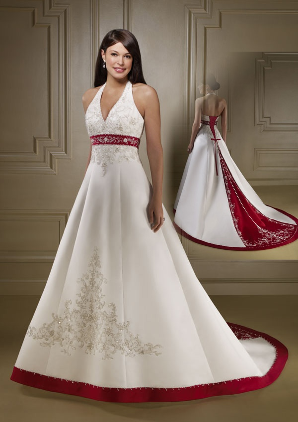 Most Loved Long Halter Wedding Dress with Color Red