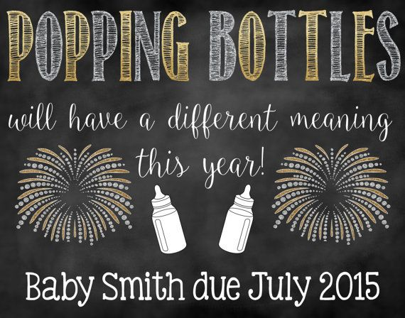 New Years Pregnancy Announcement/ Chalkboard Sign/ Expecting/ Facebook Pregnancy Reveal/ Popping Bottles/ Facebook Pregnancy Announcement