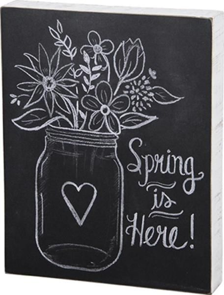 Spring is Here Mason Jar Flowers Box Sign Primitives by Kathy - Spring Holiday