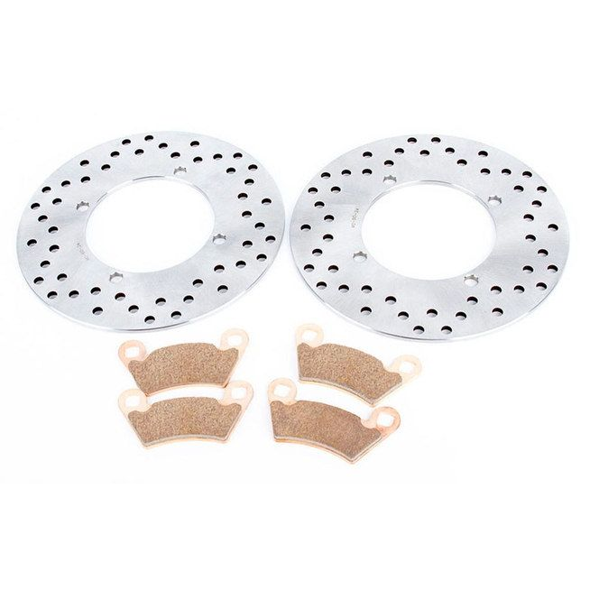 2017 Polaris Ranger 500 Mid Size Rear Rotors and Rear Severe Duty Brake Pads, Silver stainless steel