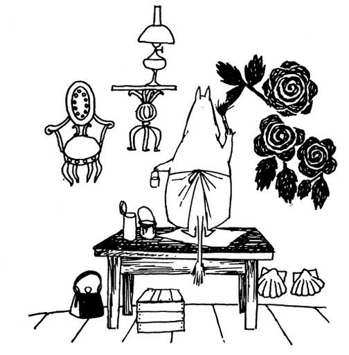 """""""So she began to paint flowers all over the wall. They were large, substantial flowers because the brushes were large, and the dye soaked right into the plaster and looked intense and transparent."""" Quote from """"Moominpappa at Sea"""" by Tove Jansson"""