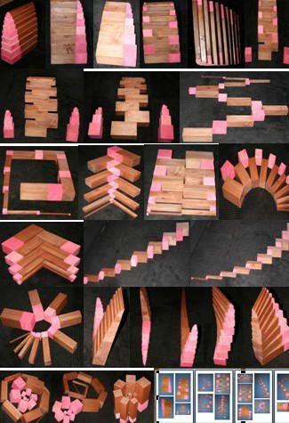 Scala marrone e torre rosa: estensioni – I set della torre rosa e della scala marrone possono essere usati insieme per creare costruzioni sia verticali sia orizzontali. I bambini possono essere lasciati liberi di sperimentare, oppure si possono seguire ad…